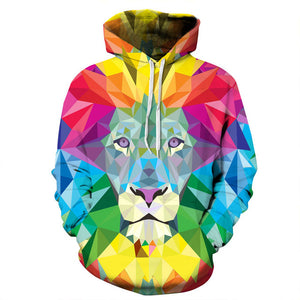 Colorful Blocks Lion Hoodie