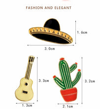 Load image into Gallery viewer, Mexico Hats, Guitar, Cactus Pins Offer