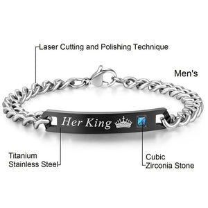 HIS QUEEN, HER KING COUPLE BRACELET