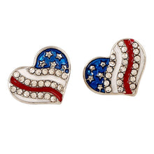 Load image into Gallery viewer, Honor Fallen Heroes American Heart Earrings - $1 given to assist families of fallen heroes