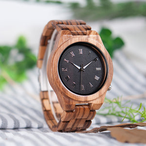 Zebra Wooden Watch with Full Wood Band