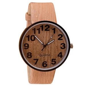 Wood Grain Leather Quartz Watch