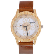 Load image into Gallery viewer, Wood Grain Analog Leather Band Wrist Watch