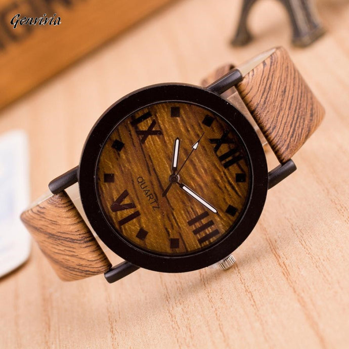 Wood Leather Band Analog Quartz Vogue Watches