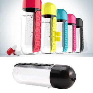 Water Filter Bottle with Pill Box Organizer