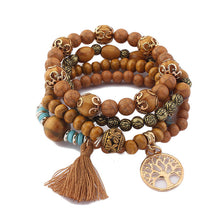 Load image into Gallery viewer, Wood Bead Bohemia Charms Bracelets & Bangles