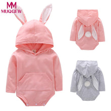 Load image into Gallery viewer, Bunny Romper  (Hooded Jumpsuit for boys or girls infant or toddler)