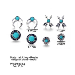 Bohemian Retro Stud Earrings Set of 4 Offer