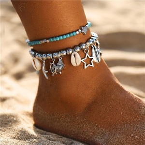 Bohemian Stone, Beads, and Shell Anklet Offer
