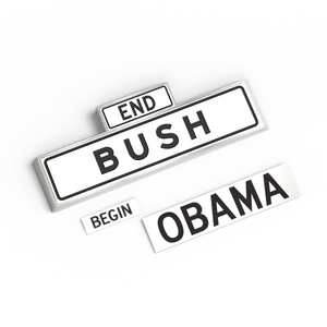 Bush/Obama Street enamel pin and sticker set