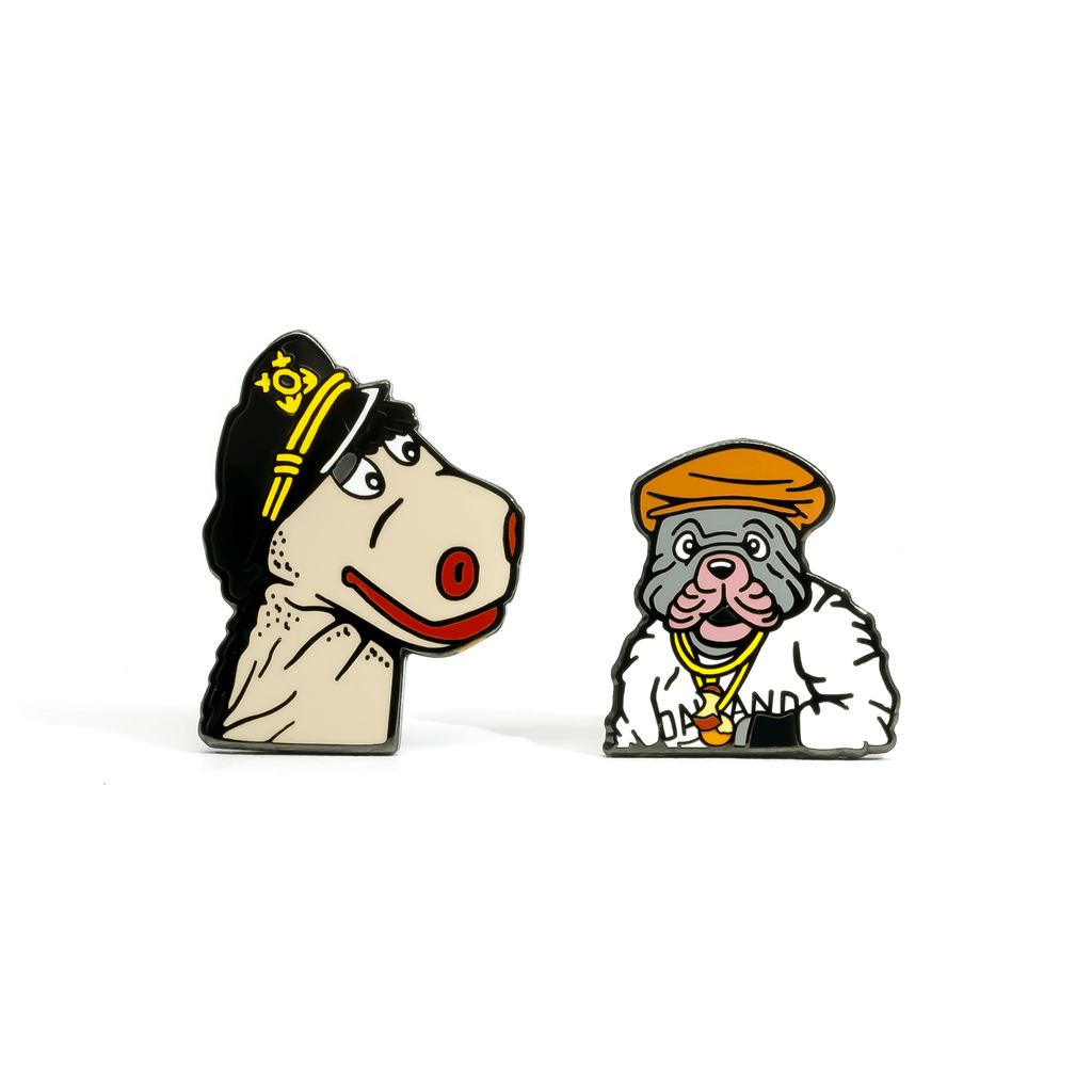Charley and Humphrey enamel pin set