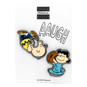 Charlie Brown and Lucy enamel pin set