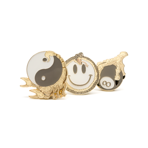 Smiley/8Ball/YinYang enamel pins