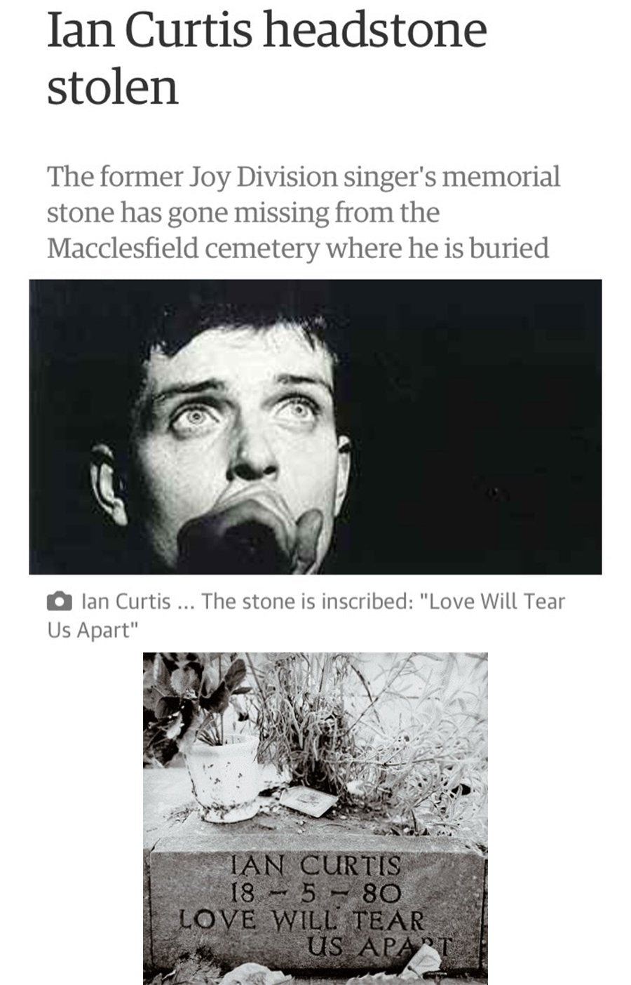 Ian Curtis Headstone engraved pin