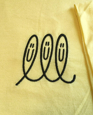 Cursive Face Embroidered T-Shirt