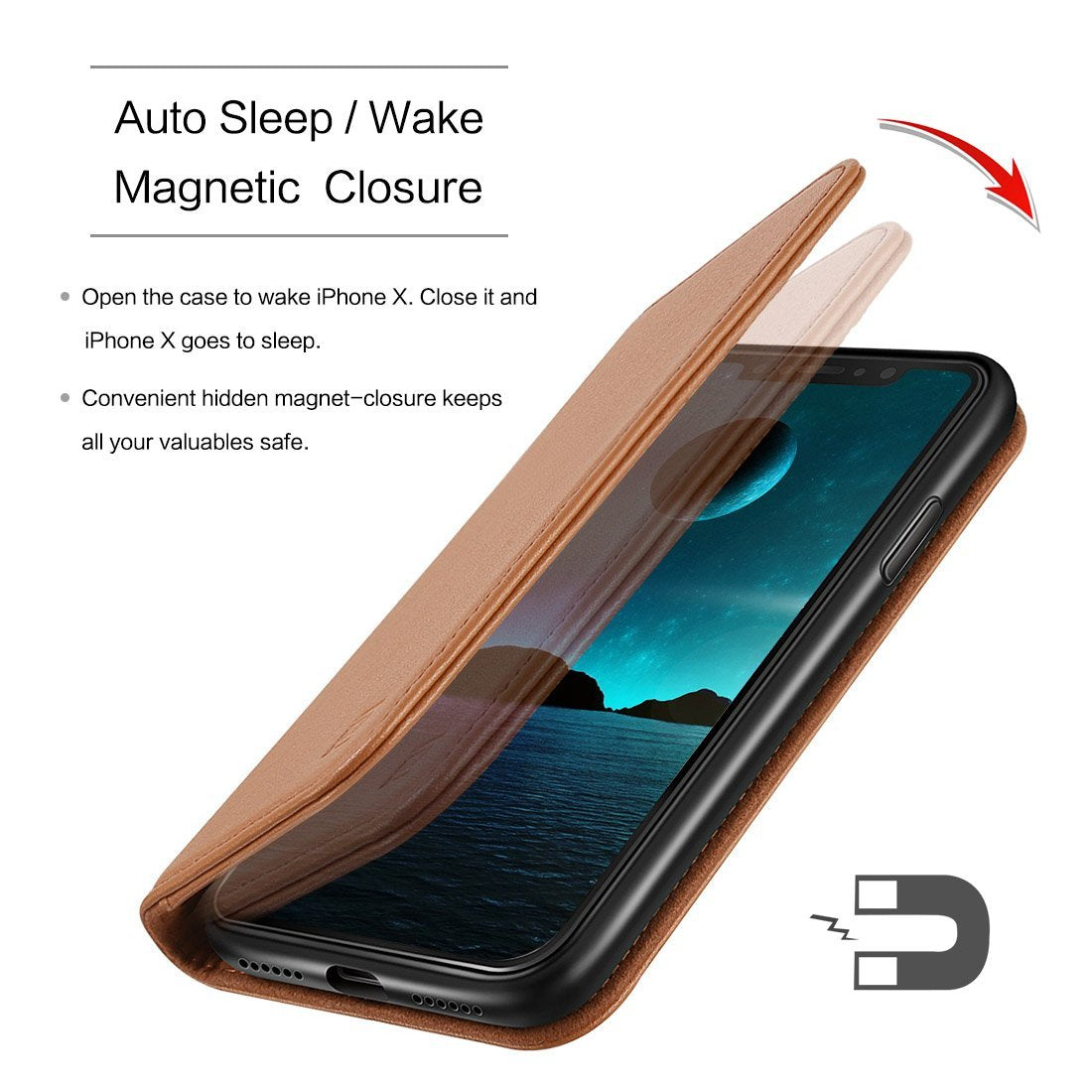 Brown - Wallet Case (Detachable) - iPhone X/ XS