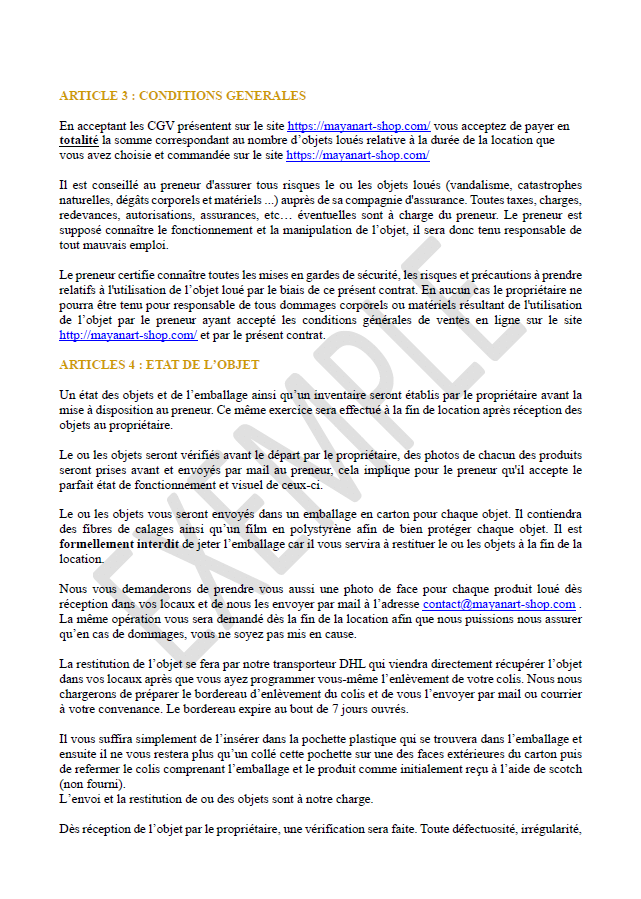 exemple de contrat de location page 2