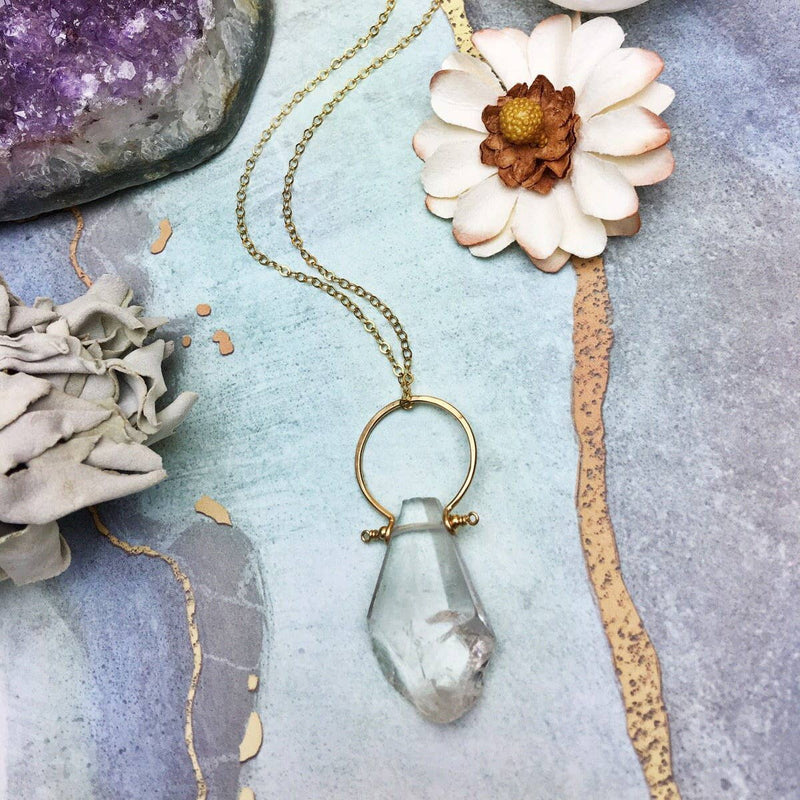 Natural Crystal Quartz Drop Pendant