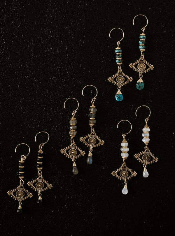 Byzantine Hamsa Evil Eye Earrings