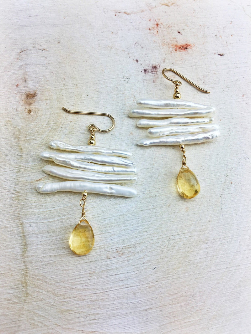 Freshwater Pearl 14k Gold Filled Citrine Drops