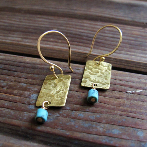 Kith and Kin - Turquoise Hammered Brass Earrings