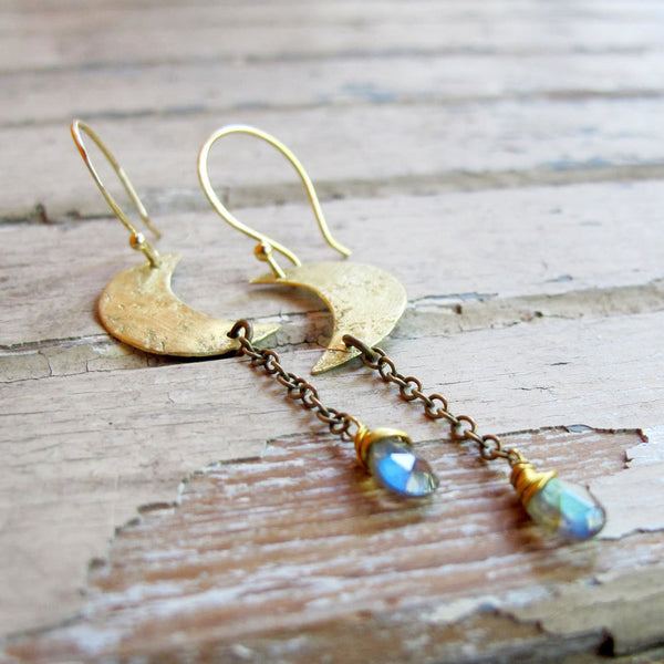 Moon In Your Hand - Brass and Labradorite Earrings