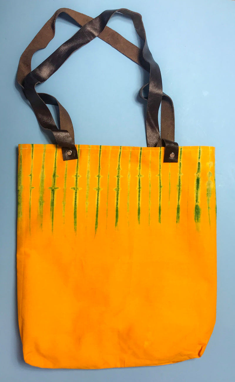 Sunny Capulana and Leather Tote Bag