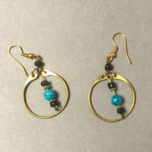 Royal Brass and Turquoise Earrings