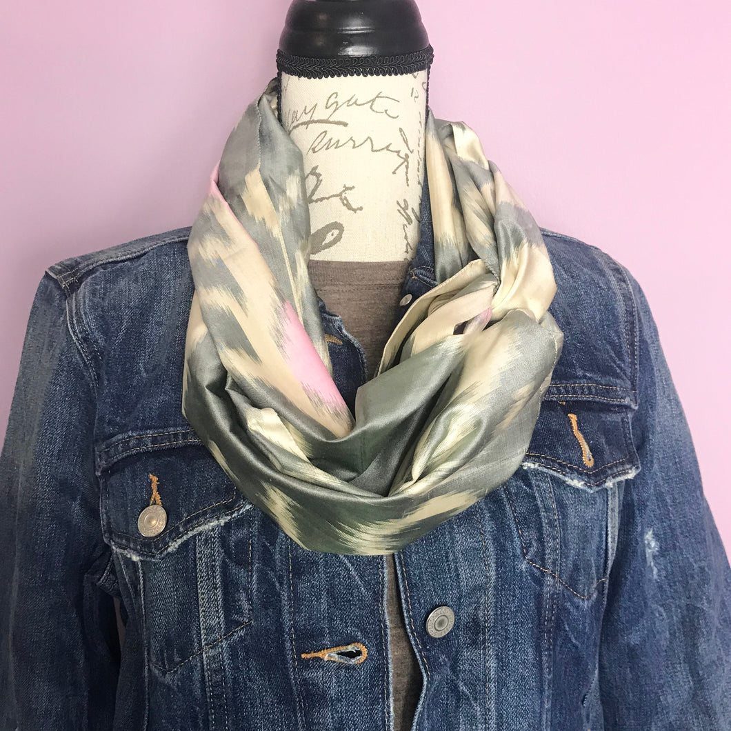 Grey and Pink Infinity Silk Scarf