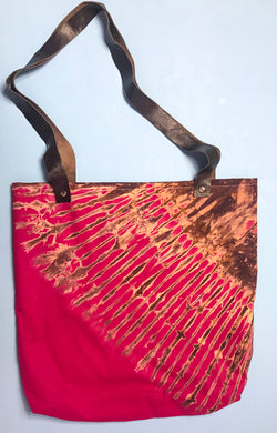 Pink Burst Capulana and Leather Tote Bag