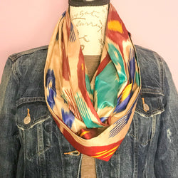 Turquoise and Red Infinity Silk Scarf