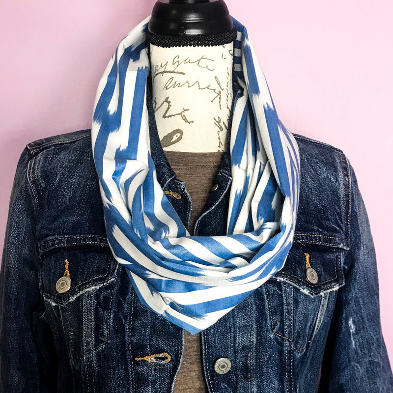 Blue and White Infinity Silk Scarf