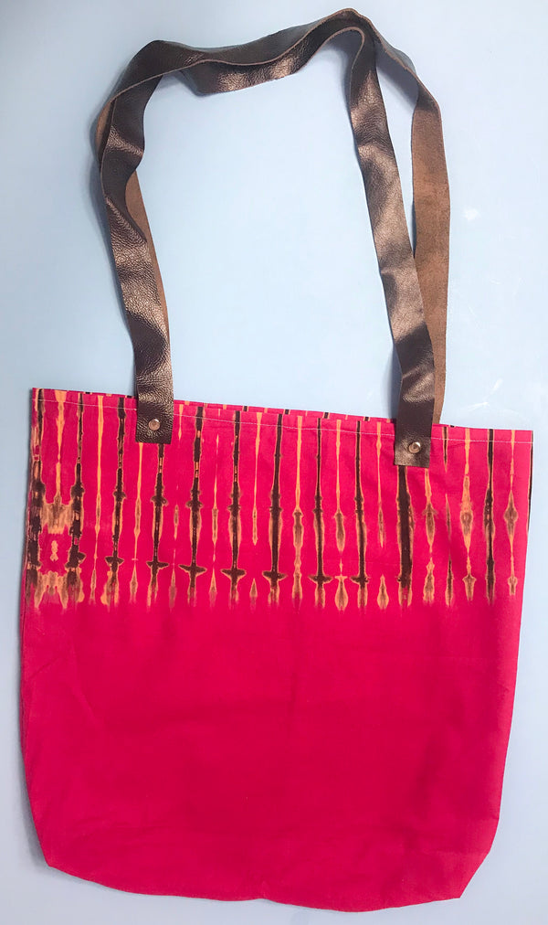Pink Capulana and Leather Tote Bag