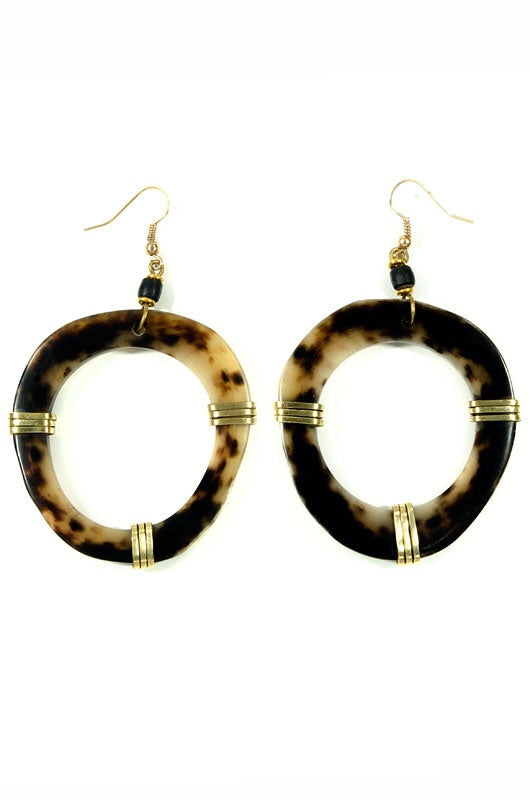 Brass and Horn Earrings