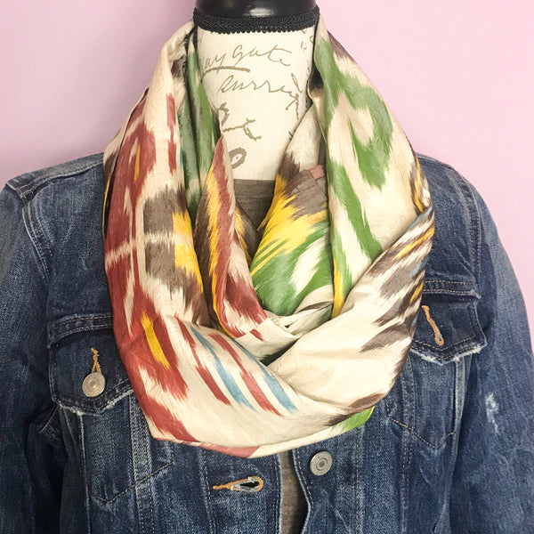 Tribal Green Infinity Silk Scarf