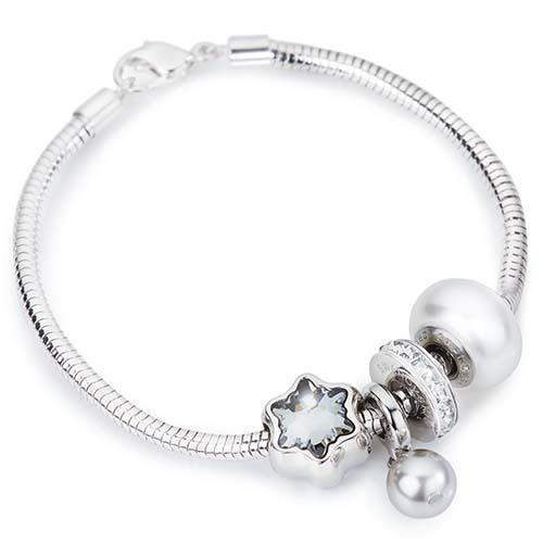 Crystal Pearl Pendant Charm Bracelet made with Swarovski® Charms-Swarovski  Charm Bracelet-Small 2da7235028d1