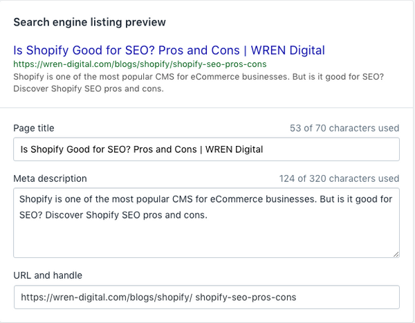 Editing SEO for a blog post in Shopify
