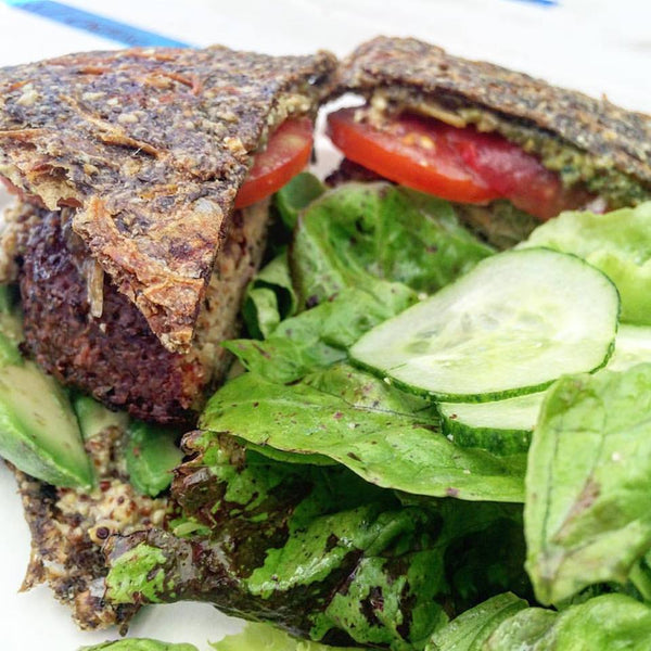 Main - Sunflower Veggie Burger, gluten-free/vegan