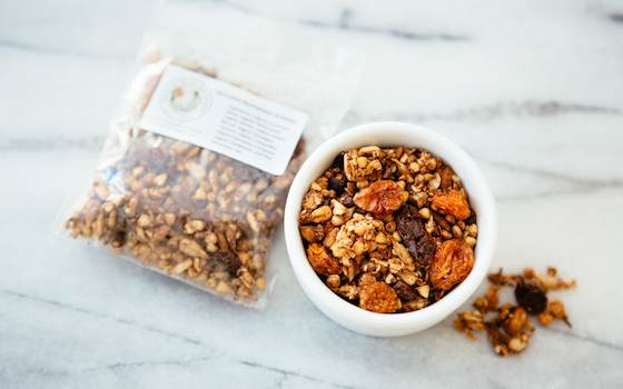 This is a sample of our Sprouted Buckwheat Granola.  Your order comes in the large 12oz brown bag.