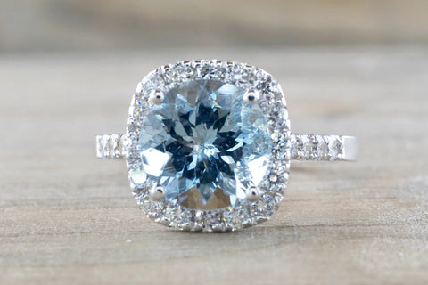 Cushion Diamond Halo Aquamarine Ring 9x9mm
