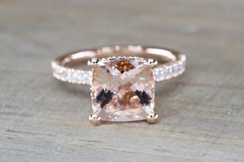 Double Hidden Halo Cushion Morganite 9mm ASPER1430038