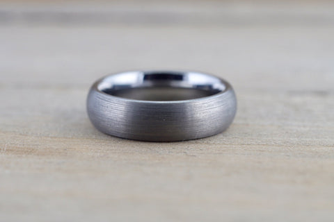 Tungsten Carbide 8mm Domed High Satin Brushed Finish Inside Men's Ring