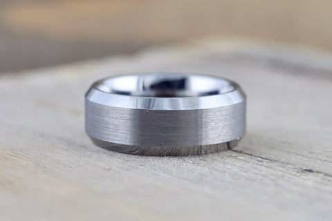 Tungsten Carbide 8mm Brushed Finish Flat Row With Beveled Edge Men's Ring