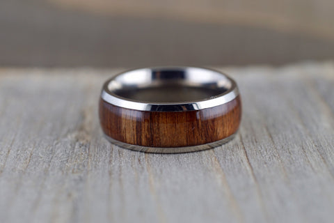 Rosewood Underlay in Titanium 8mm Domed High Men's Ring