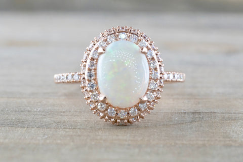 Penelope Oval Opal Diamond Halo Ring