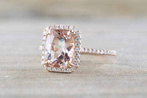 Rebecca Elongated Cushion Morganite Diamond Halo Ring ASPER1430041