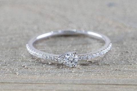 Pear Shape Design Dainty Diamond Band FR01006