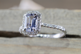 Elongated Natural Light Blue Sapphire Halo Diamond Engagement Ring M3064