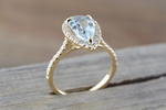 Aquamarine Pear Diamond Halo Ring M3069
