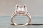 Ava Morganite Elongated Cushion Cut Halo Ring